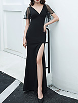 cheap -Mermaid / Trumpet Minimalist Sexy Party Wear Prom Dress V Neck Short Sleeve Floor Length Spandex Tulle with Split 2020