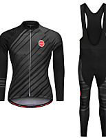 cheap -Men's Women's Long Sleeve Cycling Jersey with Tights Black Bike Sports Clothing Apparel