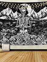 cheap -skull floral tapestry meditation skeleton tapestries mountain wave tapestry moon and star tarot tapestry starry black and white tapestry& #40;70.9 x 92.5 inches& #41;