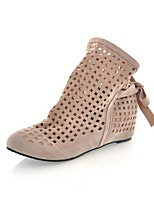 cheap -Women's Boots Wedge Heel Round Toe Classic Daily Solid Colored PU Booties / Ankle Boots Black / Red / Beige