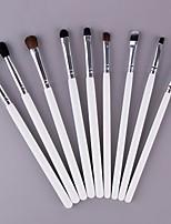 cheap -9 Pcs Animal Hair Eye Shadow Brush Set  Wool Eye Brush Set white Wooden Handle