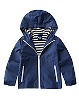 cheap -boys hooded windproof jacket water resistant light windbreaker 4/5 navy