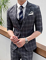 cheap -Tuxedos Tailored Fit Notch Single Breasted One-button Polyester Plaid / Check