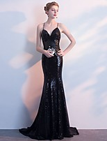 cheap -Mermaid / Trumpet Glittering Beautiful Back Wedding Guest Formal Evening Dress V Neck Sleeveless Sweep / Brush Train Spandex with Sequin 2020