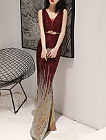 cheap -Mermaid / Trumpet Color Block Sparkle Wedding Guest Formal Evening Dress V Neck Sleeveless Floor Length Sequined with Sash / Ribbon Sequin 2020