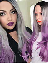 cheap -Wig Female Harajuku Fashion Black Gray Purple Three-Color Gradient Mid-Point Long Curly Hair Big Wave Chemical Fiber Wig