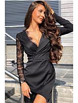 cheap -Women's Sheath Dress Short Mini Dress - Long Sleeve Solid Color Lace Spring Fall V Neck Sexy Slim 2020 Black M L XL XXL 3XL