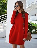cheap -Women's Shift Dress Short Mini Dress - Long Sleeve Solid Color Pocket Spring Fall Casual Loose 2020 Black Blue Red Blushing Pink Light Blue S M L XL XXL