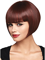 cheap -Synthetic Wig Straight Bob With Bangs Wig Short Wine Red Synthetic Hair Women's Fashionable Design Comfy Burgundy