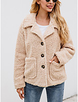 cheap -Women's Fall & Winter Coat Regular Solid Colored Daily Army Green Light Brown Beige S M L XL