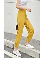 cheap -Women's Basic Daily Wide Leg Pants Solid Colored Breathable Black Blue Yellow M L XL