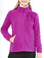 cheap -Women's Hiking Fleece Jacket Winter Outdoor Solid Color Thermal Warm Windproof Breathable Warm Winter Fleece Jacket Single Slider Climbing Camping / Hiking / Caving Traveling Black / Fuchsia