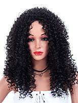 cheap -Synthetic Wig Afro Afro Curly with Baby Hair Wig Medium Length Natural Black Synthetic Hair 50-54 inch Women's Dark Roots African American Wig Black