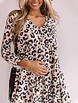 cheap -Women's A-Line Dress Short Mini Dress - Long Sleeve Leopard Print Fall Casual Loose 2020 Gray S M L XL