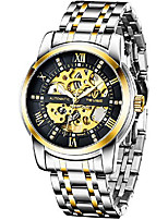 cheap -men's mechanical watch stainless steel skeleton automatic watch waterproof business watches for men