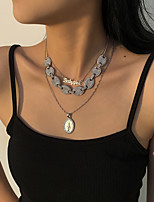 cheap -Men's Women's Choker Necklace Pendant Necklace Retro Letter Vintage European Chrome Silver 21-50 cm Necklace Jewelry 1pc For Christmas Street Gift Birthday Party Festival