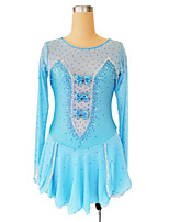 cheap -Figure Skating Dress Women's Girls' Ice Skating Dress Blue Glitter Patchwork Spandex High Elasticity Competition Skating Wear Handmade Crystal / Rhinestone Long Sleeve Ice Skating Figure Skating