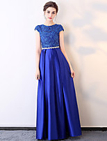 cheap -A-Line Elegant Minimalist Wedding Guest Formal Evening Dress Jewel Neck Short Sleeve Floor Length Charmeuse with Sash / Ribbon Crystals Lace Insert 2020