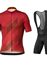 cheap -21Grams Men's Short Sleeve Cycling Jersey with Bib Shorts Black / Red Black / Blue Bike UV Resistant Quick Dry Sports Patterned Mountain Bike MTB Road Bike Cycling Clothing Apparel / Stretchy