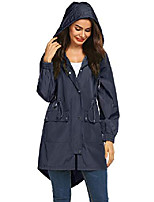 cheap -women raincoat packable and lightweight for travel outdoor hooded waterproof hiking jacket (type b navy blue s)