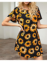 cheap -Women's Sundress Short Mini Dress - Short Sleeve Print Print Summer Plus Size Casual Holiday Capped Cotton 2020 Black XS S M L