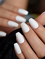 cheap -coffin fake nails matte white frosted press on nails with adhesive tabs medium