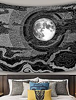cheap -tapestry wall hanging black & white moon and star tapestry hippie wall art decoration blanket for bedroom living room dorm