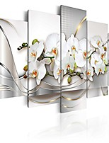 """cheap -canvas wall art print flowers orchid 39.37""""x19.68"""" 5pcs home decor framed stretched picture photo painting artwork image a-a-0004-b-n"""