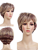 cheap -Synthetic Wig Tight Curl Pixie Cut With Bangs Wig Short Light Brown Synthetic Hair 12 inch Women's Cute Classic Color Gradient Light Brown