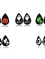 cheap -Women's Drop Earrings Earrings Pear Cut Cat Fashion Classic Vintage Holiday Trendy Fashion Leather Earrings Jewelry White / Black / Red For Halloween Vacation Street Festival 1 Pair