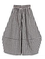 cheap -Kids Girls' Basic Black & White Check Patchwork Pants Black