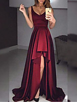 cheap -A-Line Minimalist Sexy Wedding Guest Formal Evening Dress V Neck Sleeveless Sweep / Brush Train Satin with Ruffles 2020