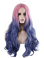 cheap -Synthetic Wig Tight Curl Loose Curl Middle Part Wig Long Pink / Grey Synthetic Hair 28 inch Women's Fashionable Design Party Exquisite Blue Pink
