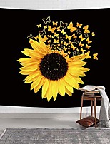 cheap -sunflowers tapestry, sunflowers butterfly blooming wild flower tapestry, spring rustic plants tapestry wall hanging for bedroom living room dorm farmhouse tv background, 80x60in black and yellow