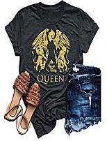 cheap -womens vintage queen shirt summer cute short sleeve casual graphic tees