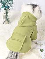 cheap -Dog Cat Hoodie Solid Colored Casual / Sporty Fashion Casual / Daily Winter Dog Clothes Breathable Pink Green Costume Fleece Cotton S M L XL XXL