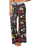 cheap -women's comfy stretch floral print high waist drawstring palazzo wide leg pants  s 024 yellow elk