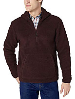cheap -amazon brand - men's sherpa fleece zip pullover with hood, burgundy x-large