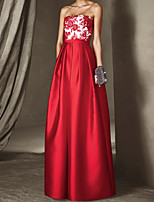 cheap -A-Line Floral Sexy Wedding Guest Formal Evening Dress Strapless Sleeveless Floor Length Satin with Pleats Appliques 2020