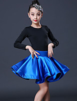 cheap -Latin Dance Skirts Side Draping Ruching Solid Girls' Training Performance Long Sleeve Modal