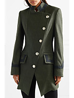 cheap -Women's Winter Stand Collar Coat Long Solid Colored Daily Wool Green S M L XL