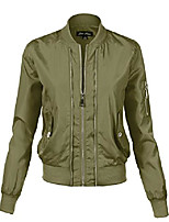 cheap -women's waist length relaxed fitted style buttoned bomber jackets pink small (gjaw108)