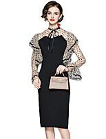 cheap -Women's A-Line Dress Knee Length Dress - Long Sleeve Solid Color Ruffle Patchwork Fall Work Elegant Slim 2020 Black S M L XL XXL