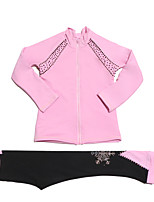 cheap -Figure Skating Jacket with Pants Women's Girls' Ice Skating Pants / Trousers Top Dark Pink Glitter Spandex Stretchy Competition Skating Wear Warm Handmade Solid Colored Crystal / Rhinestone Long