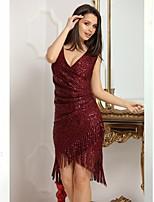 cheap -Women's A-Line Dress Short Mini Dress - Sleeveless Solid Color Sequins Tassel Fringe Summer V Neck Sexy Party Slim 2020 Wine S M L XL XXL