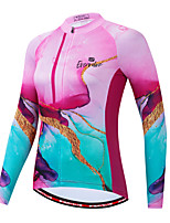 cheap -Women's Long Sleeve Cycling Jersey Pink Bike Quick Dry Sports Geometic Clothing Apparel / Micro-elastic