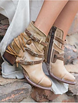 cheap -Women's Boots Wedge Heel Round Toe Classic Daily Solid Colored PU Booties / Ankle Boots Khaki / Brown