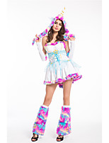 cheap -Princess Unicorn Flapper Dress Outfits Masquerade Women's Movie Cosplay A-Line Slip Cosplay White Dress Hat Halloween Children's Day Masquerade Polyester