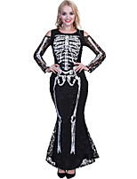 cheap -Skeleton / Skull Dress Cosplay Costume Party Costume Adults' Women's Cosplay Halloween Halloween Festival / Holiday Polyester Black Women's Easy Carnival Costumes / Leotard / Onesie