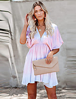 cheap -Women's A-Line Dress Short Mini Dress - Short Sleeve Tie Dye Ruched Print Summer V Neck Casual Batwing Sleeve Slim 2020 Rainbow S M L XL